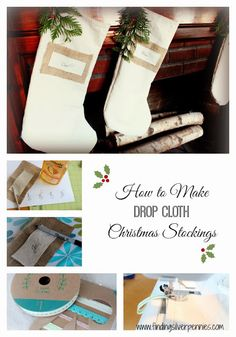 Silver Pennies: DIY Drop Cloth Christmas Stockings - make stockings for only $2.50 each!