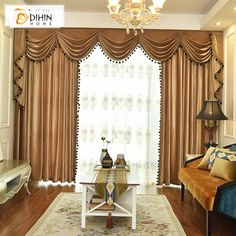 DIHIN HOME Exquisite solid yellow embroidered valance, blackout curtains grommet window curtain for living room, 1 panel, DIHINHOME Home Textile European curtain DIHIN HOME Exquisite solid yellow embroidered valance, curtains. Kids Curtains, Cool Curtains, Grommet Curtains, Curtains With Blinds, Sheer Curtains, Curtain Fabric, Blackout Curtains, Painted Curtains, Beautiful Curtains