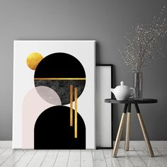 Modern geometric art in black, gold and blush pink. This high quality canvas with abstract Scandinavian design will add a contemporary detail to any home decor, especially suitable for contemporary and mid century design schemes.Comes in range of sizes. Custom sizes also available. Create your own gallery wall by adding other print from our collection.