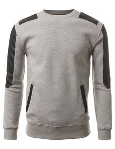 J.TOMSON Mens Slim Fit Long Sleeve Crewneck Pullover Hoodie With PU Detail at Amazon Men's Clothing store: