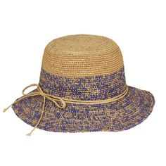 Two Tone Raffia Cloche Hat