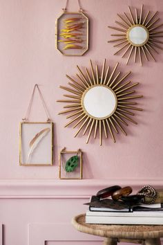 Round mirror with a sunburst-shaped frame in embossed metal. Hanger loop with cord for hanging. Diameter of mirror 2 in. Decor Interior Design, Interior Decorating, Metal Photo Frames, H & M Home, Sunburst Mirror, Mirror 3, Gold Diy, Round Mirrors, Home Decor Inspiration