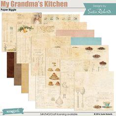 My Grandma's Kitchen Paper Biggie Decoupage Art, Scrapbook Supplies, Pattern Paper, Digital Scrapbooking, Sheep, Goats, Art Projects, Graphics, Kitchen
