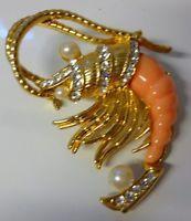 Vintage Hattie Carnegie Pearls Rhinestone Shrimp Crawfish Crustacean Pin Brooch