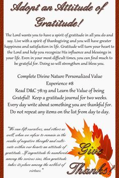 """I remember as a youth hearing that I should have an """"Attitude of Gratitude!"""" It was a catchy phrase and one that stuck with me! Novembers handout uses that same phrase. To use this printable, free for personal use, just right click on the high resolution image and select """"save image as…"""" At the Dollar …"""