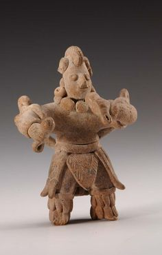 Dancer with rattles wearing layered skirt,   Colima, Mexico, Pottery, 100 BC - 250 AD
