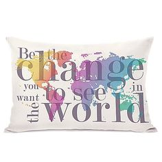 Be The Change Map Oblong Throw Pillow in Grey
