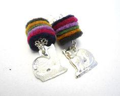 Cat Felt Earrings by romualda on Etsy, $15.50