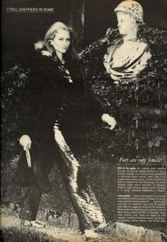 """US Vogue, November 1973 -""""Furs Are Very Female,"""" Cybill Shepherd in Furs in Rome, Photos by Helmut Newton."""