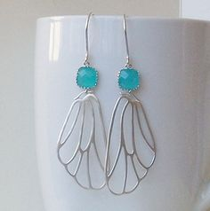 Blue Crystal Silver Butterfly Wing Dangle by PeriniDesigns on Etsy, $28.00