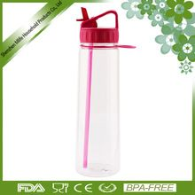 [Outdoor Sports] Straight body double wall TRITAN plastic clear custom design silicone soft straw outdoor sports water bottle with handle