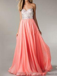 A-line Sweetheart Floor-length Chiffon Beading Prom Dresses -CAD$162.29