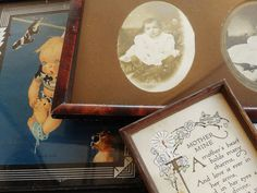 Vintage Ephemera Photographs and Frames, Set of 3