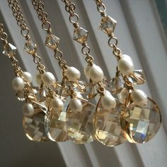 Crystal Cluster Pendant - Swarovski Crystal teardrop and freshwater pearls on gold necklace - bridal party jewelry