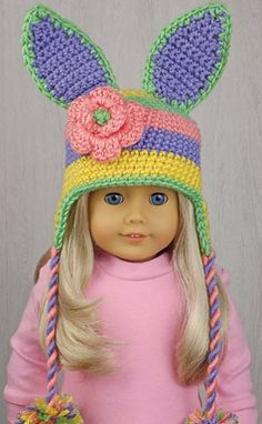 """EASTER BUNNY ~ EASTER HAT for AMERICAN GIRL DOLLS ❤ Easter bonnet hat crochet pattern from the book """"Amigurumi Holiday Hats for 18-Inch Dolls"""" by Linda Wright. Book available at http://amazon.com/dp/0980092396/"""