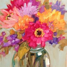 """Daily Paintworks - """"Zen Bouquet"""" - Original Fine Art for Sale - © Libby Anderson Acrylic Flowers, Acrylic Art, Painted Flowers, Art Floral, Dragonfly Art, Fine Art Auctions, Paintings I Love, Fine Art Gallery, Art Lessons"""