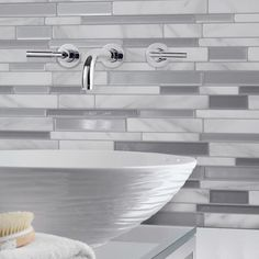 9.65 in. W x 11.55 in. H Peel and Stick Mosaic Decorative Wall Tile in Milano Carrera (6-pack), Gray