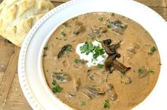 To-Die-For Rustic Hungarian Mushroom Soup Mushroom Bisque, Creamy Mushroom Soup, Mushroom Soup Recipes, Wild Mushroom Soup, Gourmet Recipes, Vegetarian Recipes, Cooking Recipes, Bread Recipes, Cooking Tips