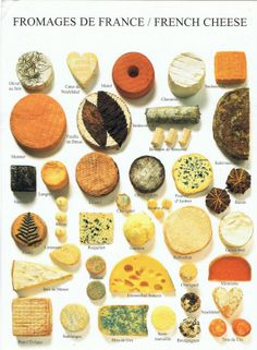 """""""Fromages De France / French""""—great chart to help identify unique French cheeses❣ Carol PostCrossing Journey"""