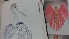 Sincronia desenhar pássaro e achar asas