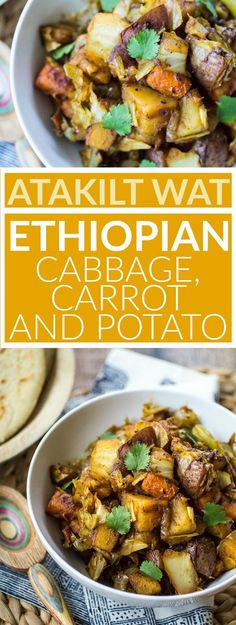 This easy vegan dish is one of my favorite parts of any Ethiopian meal! Humble Atakilt Wat is made from cabbage carrots and potatoes spiced with fragrant Berbere seasoning. Serve it with simmered lentils and Ethiopian flatbread for an easy weeknight dinner!