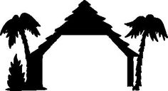 Nativity Silhouette Shelter for Papercraft/Window/Template /Stencil /Mural.