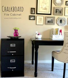 Just bought a yucky filing cabinet that is desperately in need of a facelift and I LOVE this! Chalkboard paint is always a good idea and on a filing cabinet is no exception!