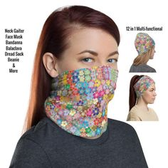Face Mask Colorful Flower Pattern 12 in 1 Multi-functional | Etsy Black Neck, Fashion Face Mask, Mandala Design, Head Wraps, Colorful Flowers, Hair Band, Flower Patterns, Fabric Weights, Etsy