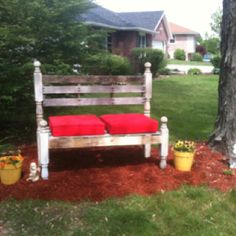 Bench made from wooden pallets and porch post.  I like this one for shabby chic outdoor weddings