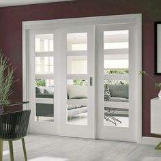 Easi-Slide OP2 White Shaker Four Pane Sliding Door System in Four Size Widths with Clear Glass