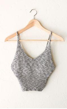 Sweater Knit Crop Top - Heather Grey