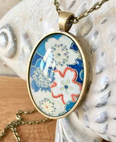 Cherry Blossom Oval Pendant Necklace  // by PolishTheStone on Etsy