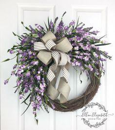 Lavender wreaths for front door, Everyday wreath, Purple door wreath, Farmhouse wreath, Spring wreath. Wreath Crafts, Diy Wreath, Grapevine Wreath, Tulle Wreath, Burlap Wreaths, Wreath Ideas, Wreaths For Front Door, Door Wreaths, Etsy Wreaths