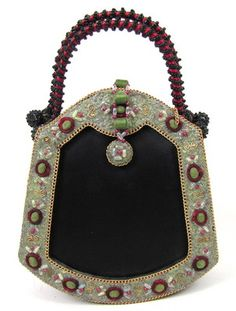 Vintage Mary Frances Ornate Oriental Fan Bucket Tote Clutch Handbag Beaded | eBay