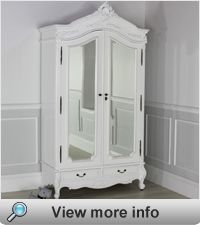 French Chateau White Painted 2 Door Mirrored Armoire