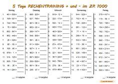 5 Tage Rechentraining + und - im ZR 1000 • ABC - Wichte