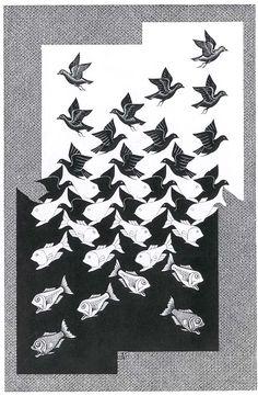M.C. Escher, Sky and Water II.  Woodcut, 1938.