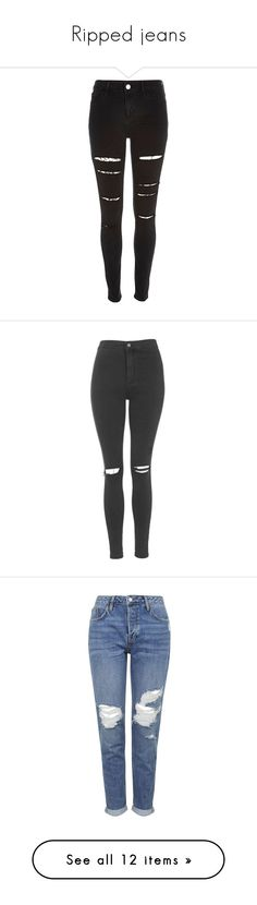 """""""Ripped jeans"""" by beautyshit ❤ liked on Polyvore featuring pants, jeans, bottoms, jeans/pants, trousers, black, jeggings, women, 5 pocket pants and high-waisted trousers"""