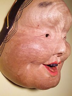 Japanese-Okame-Otafuku-Masterfully-Carved-Fine-Art-OVERSIZED-Wooden-Mask