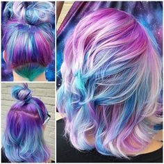 Galaxy riot 💜📷💙 I created this look with paint velvet, aquatic, Cupid, nightfall all diluted to make these glorious pastels! Her hair feels like new hair! Bold Hair Color, Beautiful Hair Color, Hair Dye Colors, Bright Hair, Galaxy Hair Color, Light Blue Hair, Funky Hairstyles, Pretty Hairstyles, Bride Hairstyles