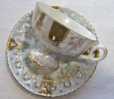 Nasco opalescent tea cup and fancy saucer set by VolvoxVintageShop. SOLD!