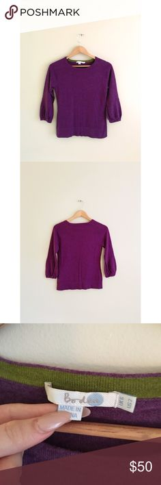 Boden purple wool holiday sweater puff sleeve top (❁´◡`❁) ωḙℓḉ✺Պḙ (❁´◡`❁)   Description:  •Bright purple wool fabric •quarter length puff sleeves    ❤️   Brand: Boden   Size: 2 US   Condition: Excellent shape. Worn gently and minimally.   (please refer to all photos Don't hesitate to ask ANY and ALL question before Bidding/Buying)  Ask about combined shipping and discounts! Boden Sweaters