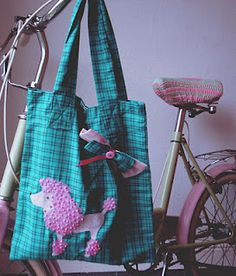 This is my little poodle bag, hand-stitched & made entirely from recycled textiles. - A real eco-reusable bag!