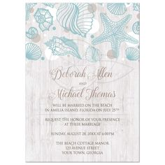 Reception Only Invitations - Seashell Whitewashed Wood Beach