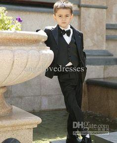 Wholesale Black Boys Suits Baby Page Boy Suit Tuxedo Wedding Party Clothes Four Pieces w/ Jacket Vest amp;Bow Tie, Free shipping, $40.34/Piece   DHgate