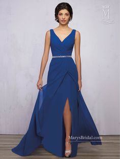 Magbridal Gorgeous Chiffon & Stretch Satin V-neck Neckline Floor-length A-line Bridesmaid Dress Satin Bridesmaids Gowns, Royal Blue Bridesmaid Dresses, Mermaid Bridesmaid Dresses, Royal Blue Dresses, Blue Bridesmaids, Prom Dresses, Bride Dresses, Bridesmaid Ideas, Formal Dresses