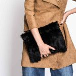 Black Rabbit Fur Clutch