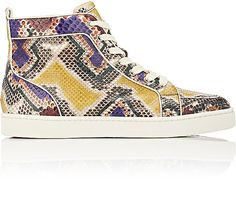 Christian Louboutin Men's Rantus Orlato Flat High-Top Sneakers