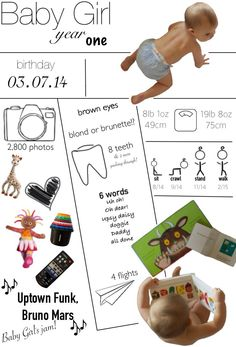 Baby Girl's first birthday infographic (copyright Bump, Baby & Me)