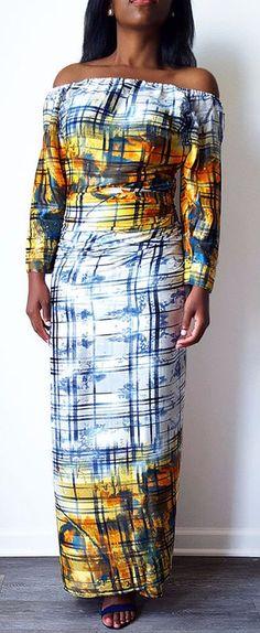 Rainha Satin Fitted Off Shoulder Contemporary Iro and Buba ~DKK ~African fashion, Ankara, kitenge, African women dresses, African prints, African men's fashion, Nigerian style, Ghanaian fashion.